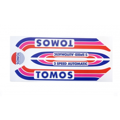 Stickerset Tomos A3 oud model Rood / Paars / Blauw